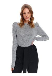 TOP SECRET - Sweter długi rękaw damski dopasowany. Okazja: na co dzień, do pracy. Kolor: szary. Długość rękawa: długi rękaw. Długość: długie. Sezon: wiosna. Styl: casual