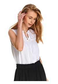 Biała bluzka TOP SECRET na co dzień, bez rękawów