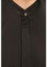 Czarna koszula ze stójką, z długim rękawem, długa, na co dzień