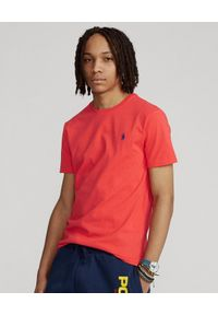 Ralph Lauren - RALPH LAUREN - Czerwony t-shirt z haftowanym jeźdźcem. Typ kołnierza: polo. Kolor: czerwony. Materiał: bawełna. Wzór: haft