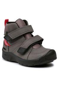 Szare buty zimowe keen z cholewką przed kolano, z cholewką