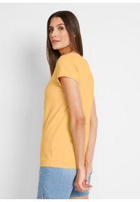 Shirt z krótkim rękawem i dekoltem karo bonprix kremowy żółty. Typ kołnierza: dekolt w karo. Kolor: żółty. Długość rękawa: krótki rękaw. Długość: krótkie