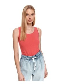 TOP SECRET - T-shirt bez rękawów damski gładki. Kolor: różowy. Długość rękawa: bez rękawów. Wzór: gładki