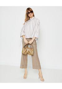 PESERICO - Beżowe spodnie w kant. Stan: podwyższony. Kolor: beżowy. Materiał: wiskoza, wełna. Styl: elegancki