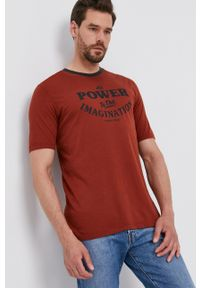 Sisley - T-shirt bawełniany. Kolor: czerwony. Materiał: bawełna. Wzór: nadruk