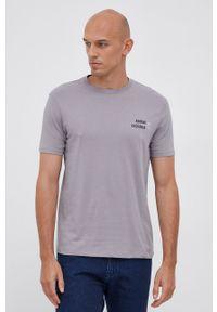 Armani Exchange - T-shirt bawełniany. Okazja: na co dzień. Kolor: szary. Materiał: bawełna. Wzór: nadruk. Styl: casual
