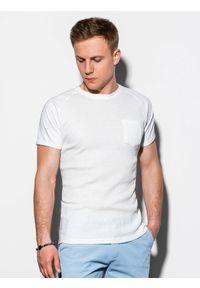 Ombre Clothing - T-shirt męski bez nadruku S1182 - biały - XXL. Kolor: biały. Materiał: tkanina, poliester, bawełna. Styl: klasyczny