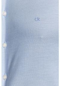 Niebieska koszula Calvin Klein długa, na co dzień, klasyczna, z klasycznym kołnierzykiem