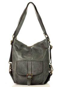 Torebka plecak 2w1 MARCO MAZZINI szary v49e. Kolor: szary. Wzór: paski. Materiał: skórzane. Styl: vintage. Rodzaj torebki: na ramię
