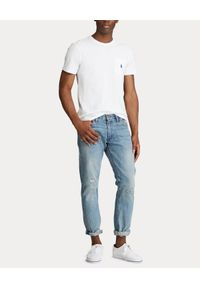 Ralph Lauren - RALPH LAUREN - Biały t-shirt z kieszenią. Okazja: na co dzień. Typ kołnierza: polo. Kolor: biały. Materiał: jeans, bawełna. Wzór: haft. Styl: casual, klasyczny