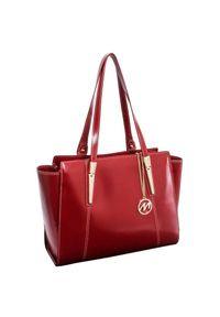 MCKLEIN - Skórzana torebka damska czerwona Mcklein Aldora 97506. Kolor: czerwony. Wzór: paisley. Materiał: skórzane. Styl: klasyczny, elegancki. Rodzaj torebki: na ramię
