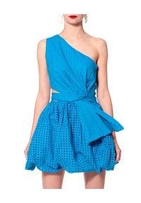 AGGI - Niebieska sukienka bombka Ariana. Okazja: na imprezę. Kolor: niebieski. Materiał: tkanina, bawełna. Wzór: ażurowy. Sezon: lato. Typ sukienki: bombki. Długość: mini