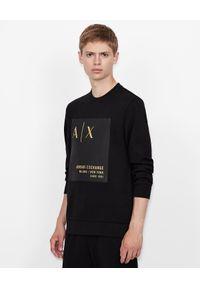 Armani Exchange - ARMANI EXCHANGE - Czarna bluza z logo. Kolor: czarny. Materiał: bawełna. Długość rękawa: długi rękaw. Długość: długie. Wzór: aplikacja. Styl: klasyczny