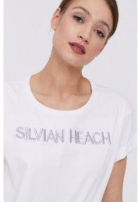 Silvian Heach - T-shirt. Kolor: biały. Materiał: dzianina. Wzór: aplikacja