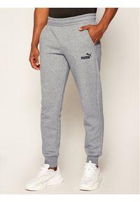 Puma Spodnie dresowe Ess Logo 851753 Szary Regular Fit. Kolor: szary. Materiał: dresówka