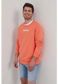Levi's® - Levi's - Bluza bawełniana. Okazja: na co dzień, na spotkanie biznesowe. Kolor: pomarańczowy. Materiał: bawełna. Wzór: nadruk. Styl: biznesowy, casual
