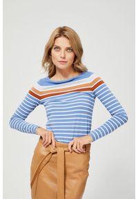 MOODO - Bawełniana bluzka w paski. Materiał: bawełna. Długość rękawa: długi rękaw. Długość: długie. Wzór: paski