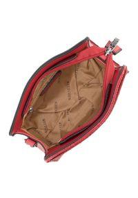 Czerwona listonoszka Wittchen w geometryczne wzory, pikowana, na ramię
