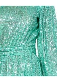 AGGI - Sukienka asymetryczna midi z cekinami Veronica. Kolor: zielony. Typ sukienki: asymetryczne. Styl: wizytowy. Długość: midi