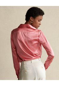 Ralph Lauren - RALPH LAUREN - Różowa koszula z jedwabiu. Okazja: na co dzień. Typ kołnierza: polo. Kolor: wielokolorowy, fioletowy, różowy. Materiał: jedwab. Styl: casual, klasyczny