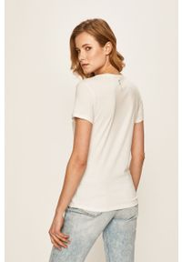 Biała bluzka Only Play z okrągłym kołnierzem, na co dzień, z nadrukiem, casualowa