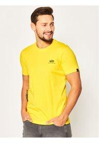 Alpha Industries T-Shirt Basic T Small Logo 188505 Żółty Regular Fit. Kolor: żółty