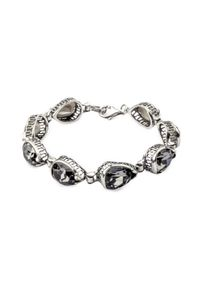 Srebrna bransoletka z kryształem, srebrna, z aplikacjami