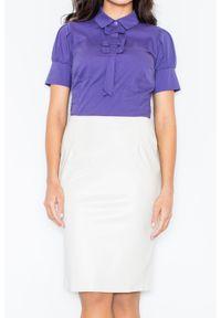Fioletowa bluzka Figl elegancka, z kokardą
