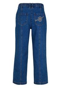 """Dżinsy 7/8 z regulowanym paskiem w talii, szerokie nogawki bonprix niebieski """"stone"""". Kolor: niebieski"""
