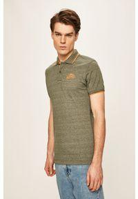 Zielona koszulka polo Blend krótka, z aplikacjami, casualowa, polo