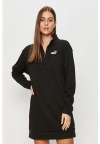 Czarna sukienka Puma casualowa, prosta, mini, z długim rękawem