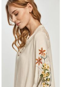 Wielokolorowa bluzka Desigual krótka, casualowa, w kwiaty