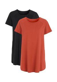 Cellbes Dżersejowa tunika z bawełny 2 Pack rdzawy Czarny female brązowy/pomarańczowy/czarny 54/56. Kolor: wielokolorowy, pomarańczowy, czarny, brązowy. Materiał: jersey, bawełna. Długość rękawa: raglanowy rękaw. Długość: krótkie