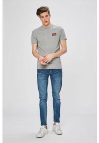 Szary t-shirt Ellesse na co dzień, casualowy, melanż