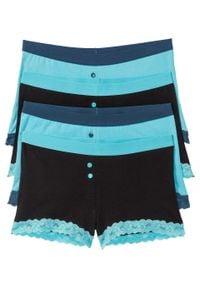 Bokserki damskie (4 pary) bonprix morsko-czarny. Kolor: niebieski. Materiał: koronka. Wzór: koronka