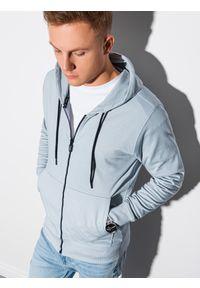 Ombre Clothing - Bluza męska rozpinana z kapturem B1152 - błękitna - XXL. Typ kołnierza: kaptur. Kolor: niebieski. Materiał: bawełna, poliester