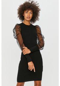 Czarna sukienka Morgan na co dzień, z okrągłym kołnierzem, z długim rękawem, prosta