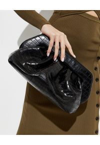 THEMOIRE - Czarna torebka Bios Croco. Kolor: czarny. Styl: klasyczny, elegancki. Rodzaj torebki: na ramię