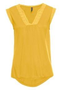 Top shirtowy z koronką bonprix żółty. Kolor: żółty. Materiał: koronka. Wzór: koronka
