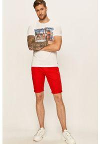 Biały t-shirt Tom Tailor Denim na co dzień, z nadrukiem, z okrągłym kołnierzem, casualowy
