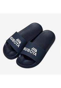 Klapki męskie plażowe basenowe basic granatowe Kubota. Okazja: na plażę. Kolor: niebieski. Materiał: tworzywo sztuczne, guma