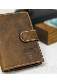 BUFFALO WILD - Skórzany portfel męski j. brązowy Buffalo Wild RM-06L-HBW TAN. Kolor: brązowy. Materiał: skóra