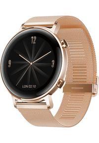 HUAWEI - Smartwatch Huawei Watch GT 2 42mm Różowe złoto (1876970000). Rodzaj zegarka: smartwatch. Kolor: złoty, różowy, wielokolorowy