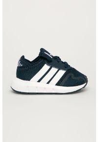 Niebieskie buty sportowe adidas Originals na sznurówki, z cholewką, z okrągłym noskiem