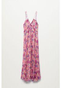 mango - Mango - Sukienka BAHIA. Kolor: różowy. Materiał: tkanina, włókno. Długość rękawa: na ramiączkach. Typ sukienki: rozkloszowane