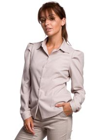 Beżowa koszula MOE klasyczna, z klasycznym kołnierzykiem