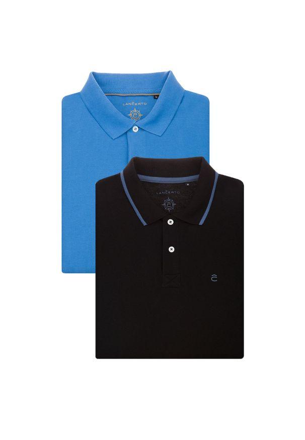Lancerto - Zestaw 2 Koszulek Polo. Okazja: na urodziny, na co dzień. Typ kołnierza: polo. Materiał: bawełna, tkanina. Wzór: ze splotem. Styl: klasyczny, casual