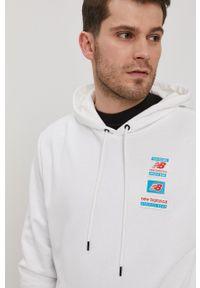 New Balance - Bluza. Kolor: biały. Wzór: nadruk, aplikacja
