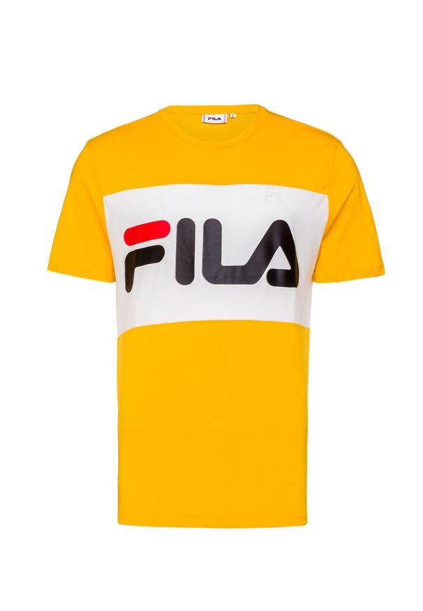 Żółty t-shirt Fila z okrągłym kołnierzem, z nadrukiem