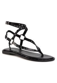 Czarne sandały Eva Minge z aplikacjami, casualowe, na co dzień